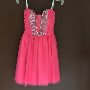 Pink Tulle & Rhinestone short dress